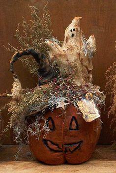 Grungy JOL Pumpkin, Witch Hat & Ghost E-Pattern
