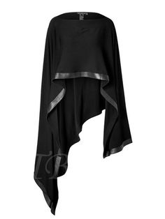 Donna Karan New York Poncho w… You could make me something like this, too, right? Donna Karan New York Poncho with Leather Trim in Black Donna Karan, Mode Style, Style Me, Look Fashion, Womens Fashion, Fashion Design, Fashion Clothes, Black Poncho, Black Cape