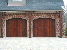 Clear western red cedar garage door with liftmaster opener for Garage doors charlotte nc