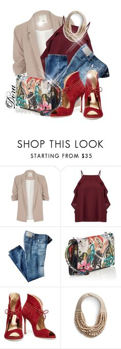 """""""Senza titolo #6584"""" by doradabrowska ❤ liked on Polyvore featuring River Island, Miss Selfridge, AG Adriano Goldschmied, Christian Louboutin, Chelsea Paris and Fairchild Baldwin"""