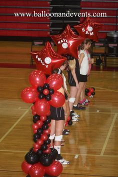 Balloon Columns & Stars Senior Night Night by ann Volleyball Locker Decorations, Volleyball Party, Volleyball Posters, Coaching Volleyball, Volleyball Gifts, Volleyball Pictures, Volleyball Ideas, Soccer Gifts, Sports Gifts