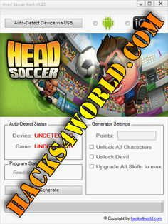 Head Soccer Hack working with iOS and Android download only from: http://hacks4world.com/head-soccer-hack/  Head Soccer Hack Features: Points generator Unlock All Characters Unlock Devil Upgrade All Skills to max  Head Soccer Hack working with iOS and Android download only from: http://hacks4world.com/head-soccer-hack/