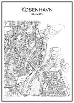 Handritad stadskarta över Köpenhamn i Danmark. Här kan du beställa stadskarta över din stad och andra svenska samt utländska städer.