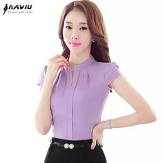 office lady Picture - More Detailed Picture about Elegant V Neck Formal women blouse summer OL fashion slim short sleeve chiffon shirt office ladies plus size tops Lavender White Picture in Blouses & Shirts from NAVIU Elegant and Fashion Official Store Cute Sporty Outfits, Ol Fashion, Fashion 2017, Business Casual Dresses, Business Attire, Chiffon Shirt, Office Ladies, Plus Size Tops, Blouses For Women