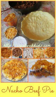 Tasty Tuesdays: Beef Nacho Pie Recipe with food Doritos Recipes, Pie Recipes, Dorito Pie Recipe, Mexican Dishes, Mexican Food Recipes, Beef Pies, Tortilla Chips, Yummy Eats, Nachos