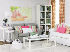 white / gray / pink small living room