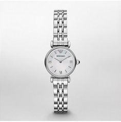 The EmporioArmani® Classic Watch, The classic Emporio Armani timepiece features a white mother-of-pearl dial on a stainless steel case and bracelet.Buy the EmporioArmani Classic Watch Now! Armani Watches, Stainless Steel Watch, Emporio Armani, Things To Buy, Pearls, Retro, Silver, Accessories, Store
