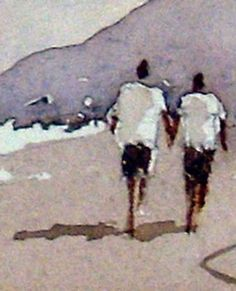 Painting figures with watercolor paint walking along a sandy beach
