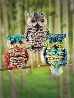 "Yo-Yo ""Al"" Owl Sewing Pattern. So cut, Suffolk puff, lovely colour fabric combinations."