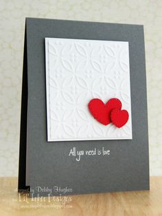 Supplies: Stamps - Lil' Inker Designs heart dies and stamp set; Card - Stampin' Up basic gray, real red; Inks - Versamark; Dies - Lil' Inker Designs heart dies; Embossing folder - Lifestyle Crafts dainty; White embossing powder