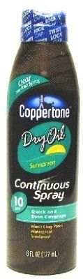 Coppertone Continuous Dry Oil Tanning Spray SPF 10 Sunscreen-6 oz (Pack of 6) *** Continue @
