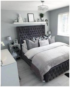 Shelf Decor Bedroom Above Bed Silver Bedroom, Bedroom Furniture Layout, Bedroom Interior, Bedroom Makeover, Bedroom Design, Luxurious Bedrooms, Grey Bedroom Decor, Apartment Master Bedroom, Small Bedroom