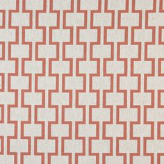 A0002C Persimmon And Off White, Modern, Geometric Upholstery Fabric By The Yard