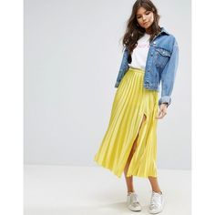 Discover midi skirts with ASOS. Shop from a range of pleated, A-line skirts, calf length skirts and other midi skirt styles. Shop today at ASOS. Yellow Pleated Skirt, Satin Pleated Skirt, Yellow Pencil Skirt, Pleated Skirt Outfit, Skirt Outfits, Yellow Skirts, Pleated Fabric, Midi Skirts, Skirt Fashion