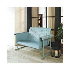 Vintage Garden Bench Metal Seat Industrial Iron Loveseat Outdoors Furniture Cyan #Crosley
