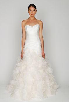Monique #Lhuillier Bliss 1213 Trumpet Organza #Wedding #Dress - Nearly Newlywed Wedding Dress Shop.