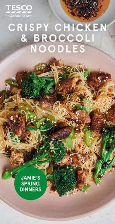 "Jamie Oliver's Crispy Chicken and Broccoli Noodles - - Jamie says: ""Quick and easy with crunchy veg, this stir-fry is a real winner"". Pork Buns, Stir Fry Recipes, Cooking Recipes, Asian Recipes, Healthy Recipes, Tesco Real Food, Health Dinner, Crispy Chicken, Main Meals"