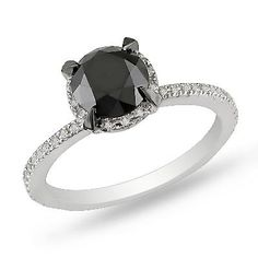 2 CT. T.W. Enhanced Black and White Diamond Solitaire Ring in 10K White Gold