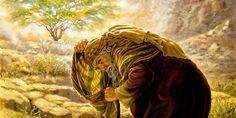 Moses covers his face at the burning bush