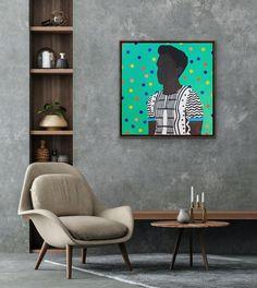 Shakes Tembani: Boy With Sriped Shirt: fine art | StateoftheART Puff And Pass, Canvas Size, Original Artwork, Fine Art, Boys, Artist, Shirt, Painting, Home Decor