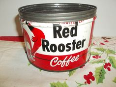 vintage red rooster coffee can