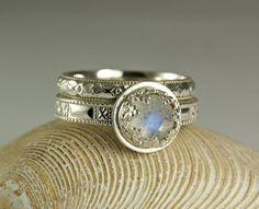 Blue Moonstone Wedding Set, Rose Cut Rainbow Moonstone Stacker Rings, Filigree Setting, custom sized