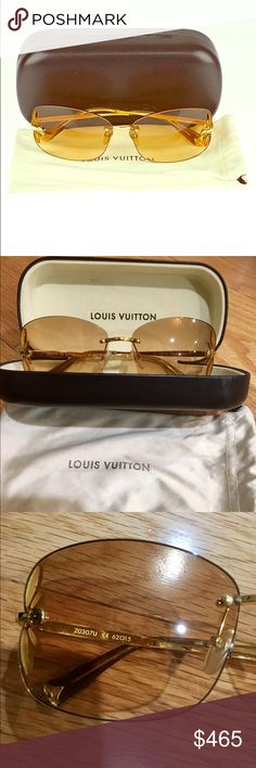 AUTHENTIC LV Gold Lily Sunglasses Z0307U MINT! Authentic Louis Vuitton Gold Rimless Gradient Lens Lily Sunglasses Z0307U. Retro, but chic appeal. They feature a monogram flower petal cutout design on frames, a frameless design & finishing touches only LV would add to a stunning pair of sunglasses! Retail Price is $515. These were purchased straight from the LV store in Paris, France 🇫🇷 WORN ONLY TWICE, NO SCRATCHES, IN MINT CONDITION! Comes in original LV bag & LV sunglass case. Bag has…