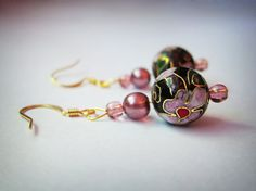 Round Cloisonne and Pink Pearl Earrings by TheTripleJewel on Etsy, $10.00