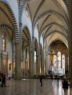 Nave of Church of Santa Maria Novella, Florence, UNESCO World Heritage Site, Tuscany, Italy