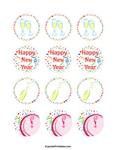 Free printable cupcake toppers in PDF format. Themes include animals, holidays, nature, and more. New Year's Cupcakes, Holiday Cupcakes, Party Favor Tags, Party Favors, Mercury Glass Centerpiece, New Years Hat, Hershey Nugget, How To Make Glitter, Bottle Cap Images