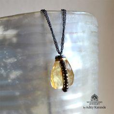 Moonbeams Jewelry by Adity Karande.   Necklace Citrine Nugget, Pyrite, Silver, Gold