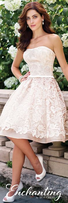 Enchanting by Mon Cheri Spring 2017 Wedding Gown Collection - Style No. 117172 - strapless lace and organza short wedding dress in Ivory/Tea Rose