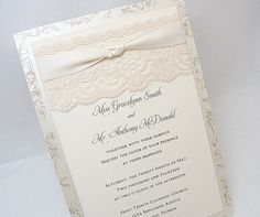 EMILY2 Lace Wedding Invitation Invite Vintage by LavenderPaperie1, $600.00