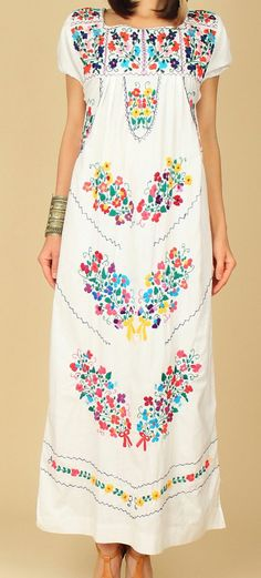 Mexican EMBROIDERED Dress Maxi OAXACAN Floral Cotton ViNtAgE