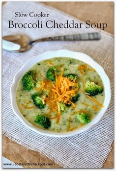 Slow Cooker Light and Gluten-Free Broccoli Cheddar Soup from 365 Days of Slow Cooking