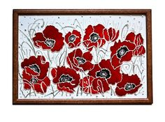 stunning - Red silver poppies flowers stained glass painting  by ShimmerPlace, $65.00