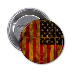 USA Grunge American Flag Button