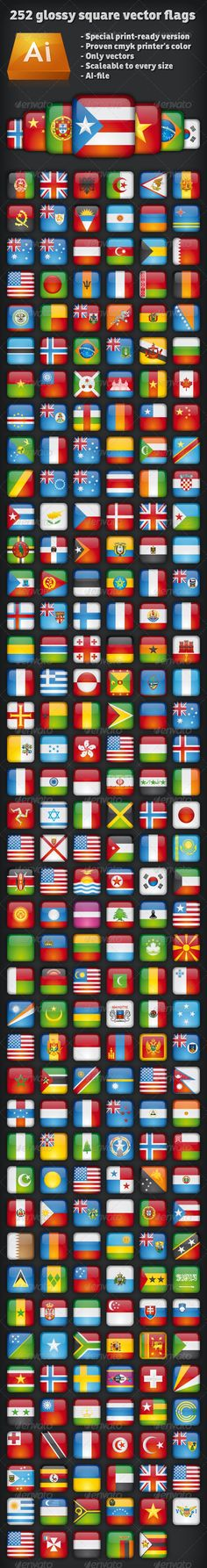 Ultimate 252 glossy square vector flags