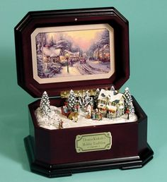 Thomas Kinkade Music Box Christmas Music Box, Christmas Art, Thomas Kinkade Art, Antique Music Box, Art Thomas, Music Jewelry, Pretty Box, Painted Boxes, Little Boxes
