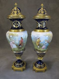 French Sevres pair of porcelain & bronze urns # 5786