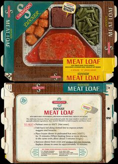 It's hilarious to me that the rare occasion when I was allowed to eat a T.V. dinner was so exciting to me. This one was my favorite flavor! Swanson - Meat Loaf with tomato sauce, potato nuggets, green beans, chocolate nut brownie - TV Dinner box - 1971 by JasonLiebig, via Flickr
