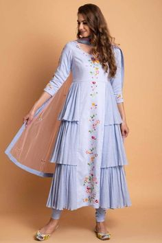 Powder Blue Side Crinckle Chudidar Set