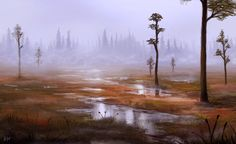 So after a while i finally started to paint again. Some swamp this time. about Photoshop+Wacom Suo Landscape Concept, Fantasy Landscape, Landscape Art, Boat Painting, Matte Painting, Cities, Environment Concept Art, Fantasy Rpg, Photo Canvas