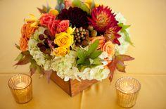 17-Yellow Wedding, Fall Colors Centerpiece