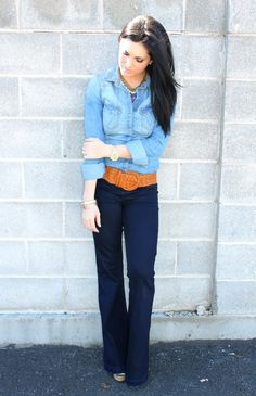 Chambray shirt, wide belt snd trousers  The Dime Diary