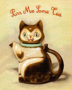 Kitchen Art, Art Print, Home Decor, Vintage Kitchen, Cat Teapot, Hand-Lettered Typography, Cute, Whimsical - Purr Me Some Tea 8x10