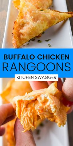 This Buffalo Chicken Rangoon is a fun twist on a classic crab rangoon. It's everyone's favorite buffalo chicken dip, wrapped in a wonton and deep fried. It's the perfect party appetizer or game-day snack.