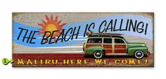 Vintage Wooden Sign - The Beach is Calling! Glass Artwork, Wooden Signs, Beach, Vintage, Home Decor, Wooden Plaques, Decoration Home, The Beach, Room Decor