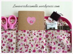 DIY : La pochette de rangement pour crochets - La poche réservée au carnet de note et la poche réservée aux aiguilles, fils à broder et autre petit matériel