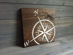 Pick colors, Compass Wood Sign, Stained and Hand Painted, Home decor, adventure sign, Adventure art, Travel decor, Nautical decor